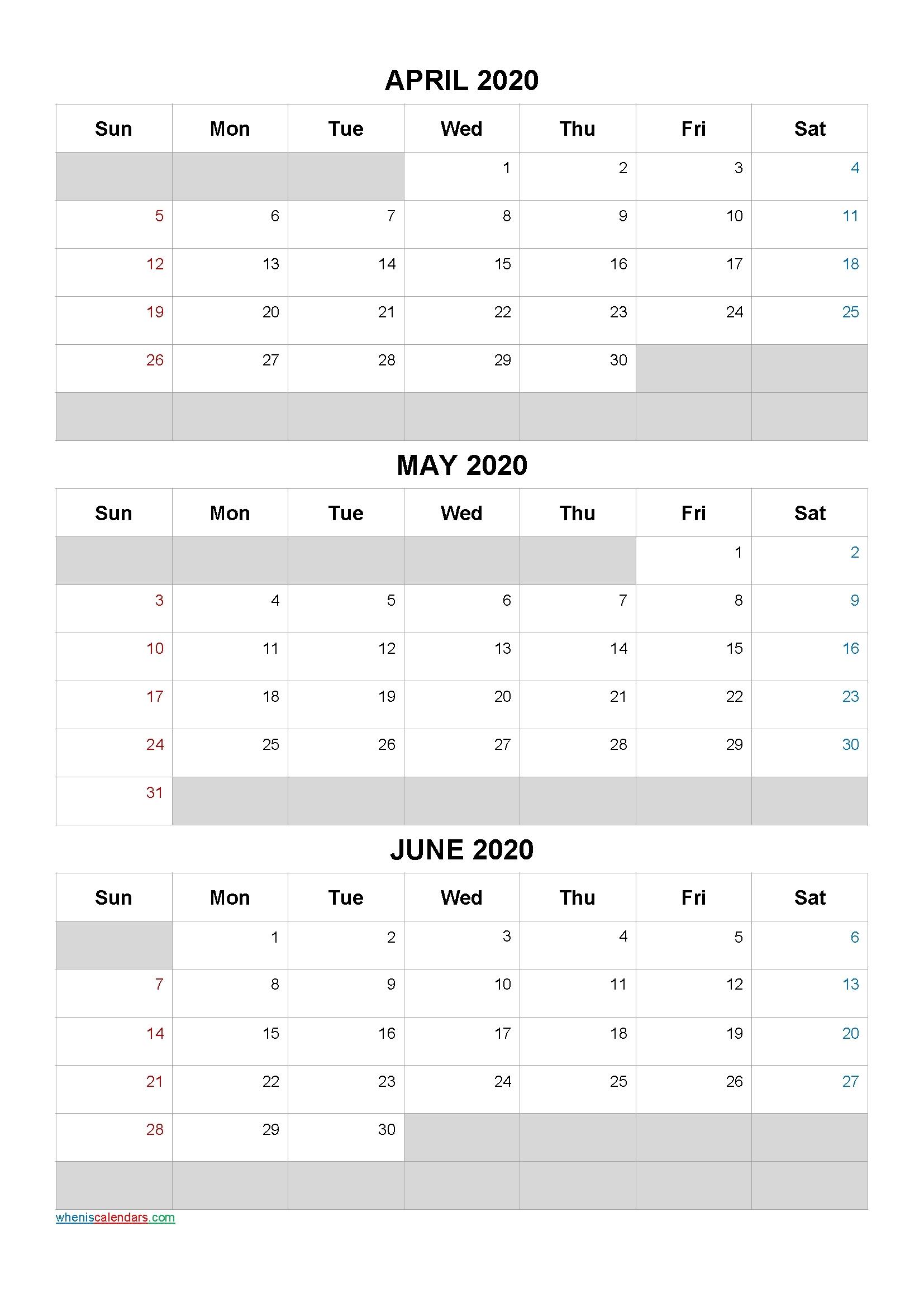 3 Month Calendar 2021 Printable | Calendar Template 2021 April Through June 2021 Calendar