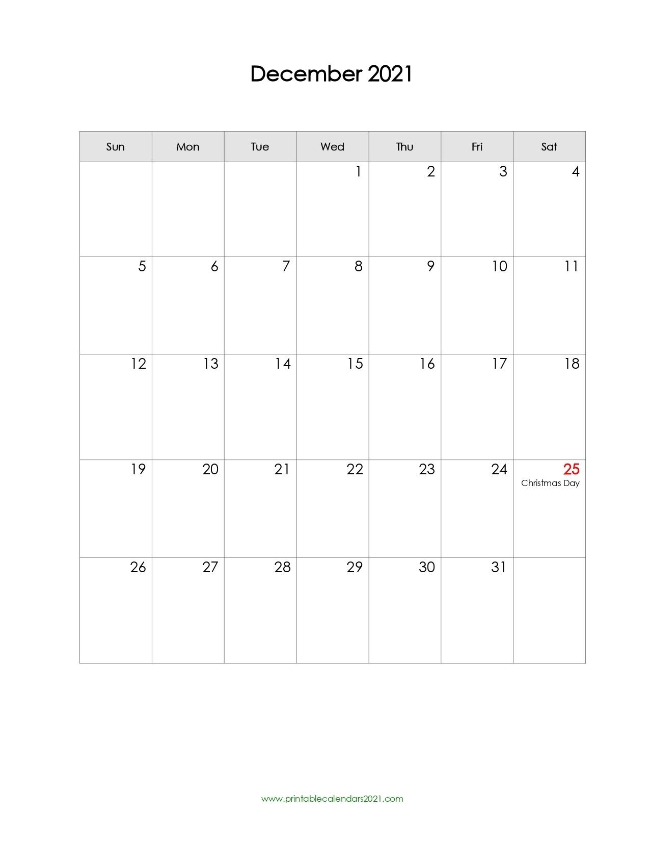 40+ December 2021 Calendar Printable, December 2021 Calendar Pdf Printable January Through December 2021 Calendar