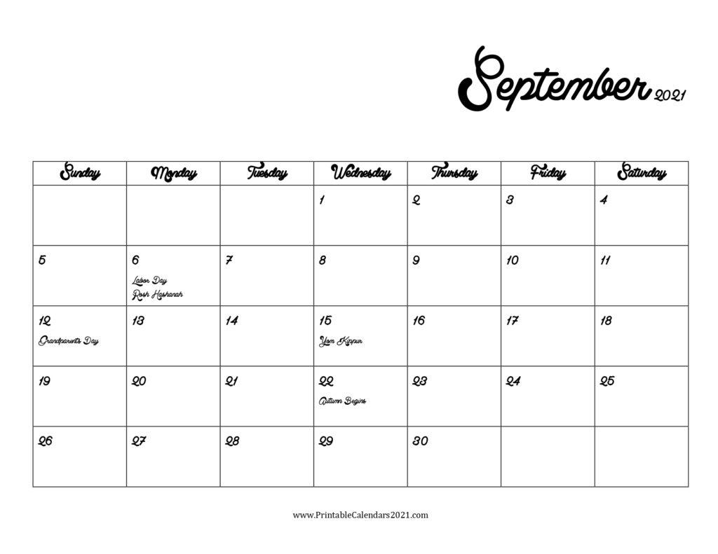 40+ September 2021 Calendar Printable, September 2021 Calendar Pdf Calendar May To September 2021