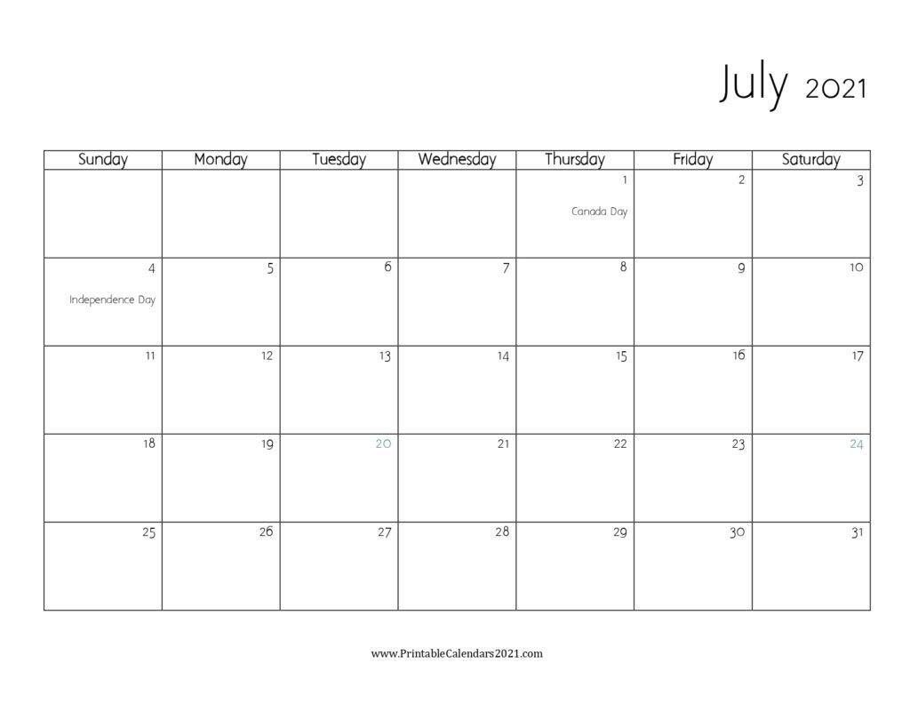 45+ July 2021 Calendar Printable, July 2021 Calendar Pdf, Blank, Free Blank July 2021 Calendar Printable