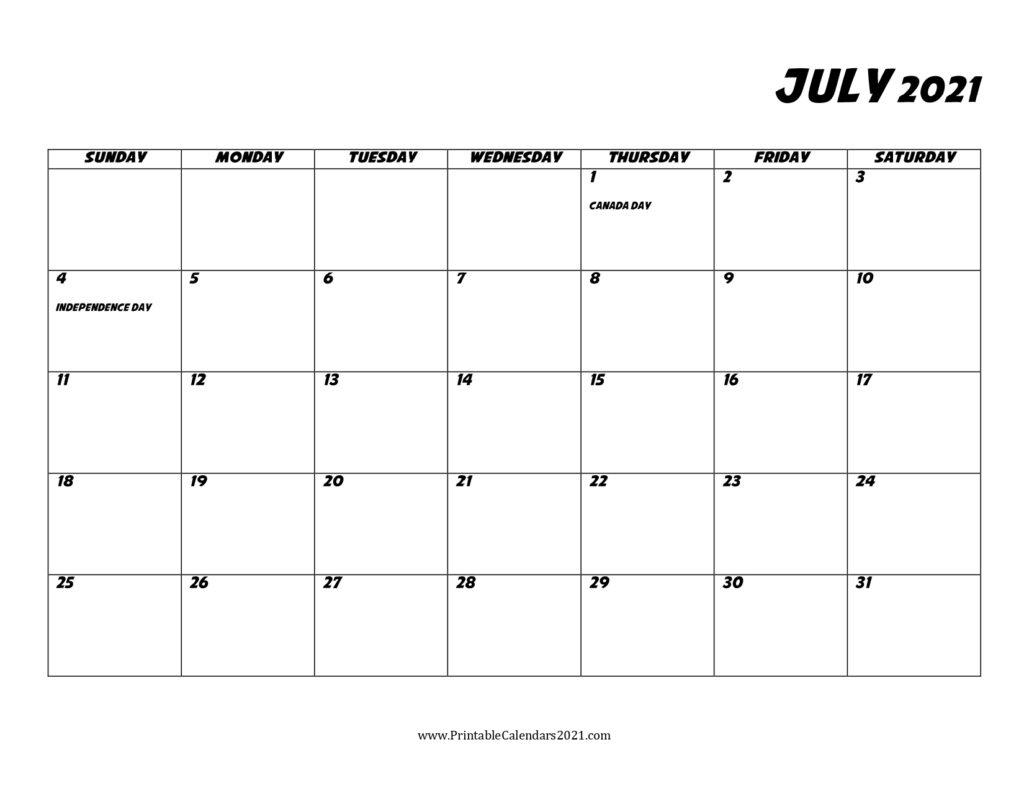 45+ July 2021 Calendar Printable, July 2021 Calendar Pdf, Blank, Free Calendar For The Month Of July 2021