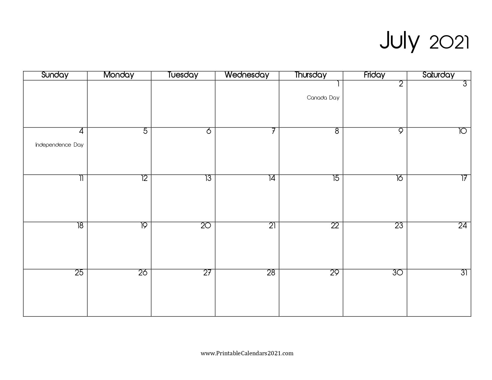 45+ July 2021 Calendar Printable, July 2021 Calendar Pdf, Blank, Free July 2021 Calendar Pdf Download