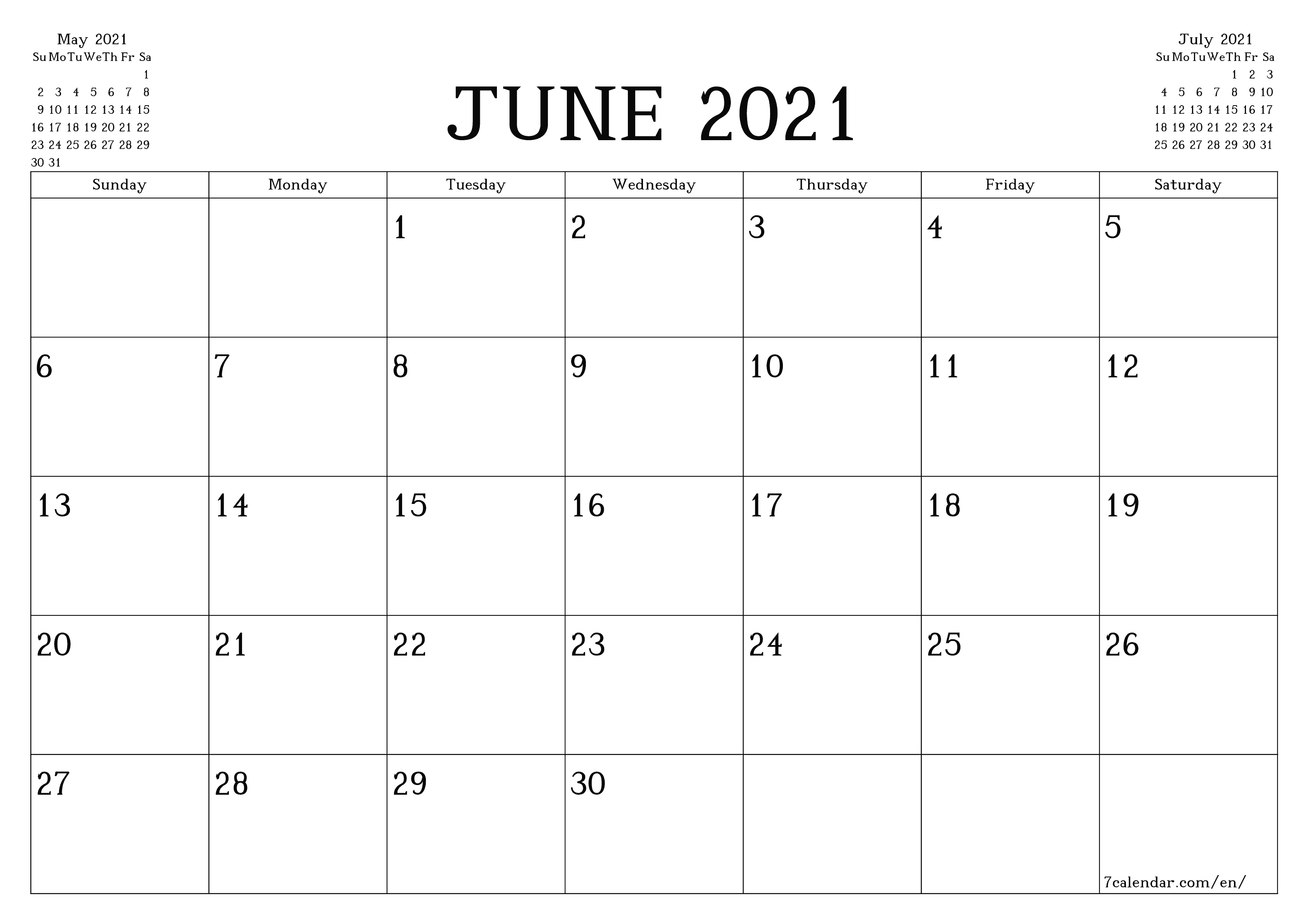 50 Best Printable June 2021 Calendars With Holidays - Onedesblog June 2020 To June 2021 Calendar Printable