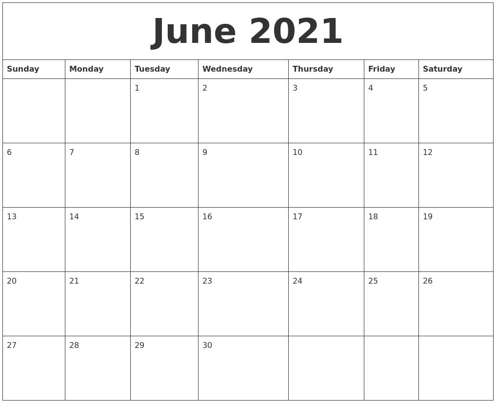 50 Best Printable June 2021 Calendars With Holidays - Onedesblog June 2021 Calendar Canada