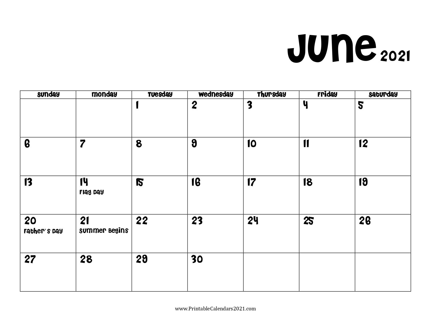 60+ Free June 2021 Calendar Printable With Holidays, Blank, Pdf June 2021 Calendar Printable