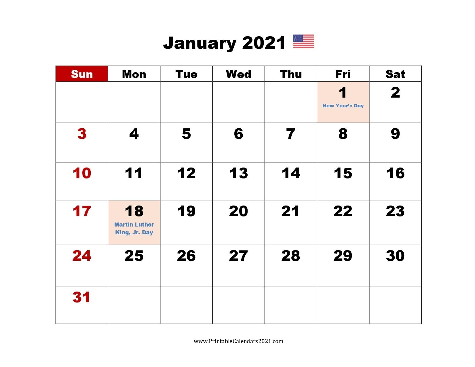 65+ January 2022 Calendar Printable, January 2022 Calendar Us Holidays Printable January Through December 2021 Calendar