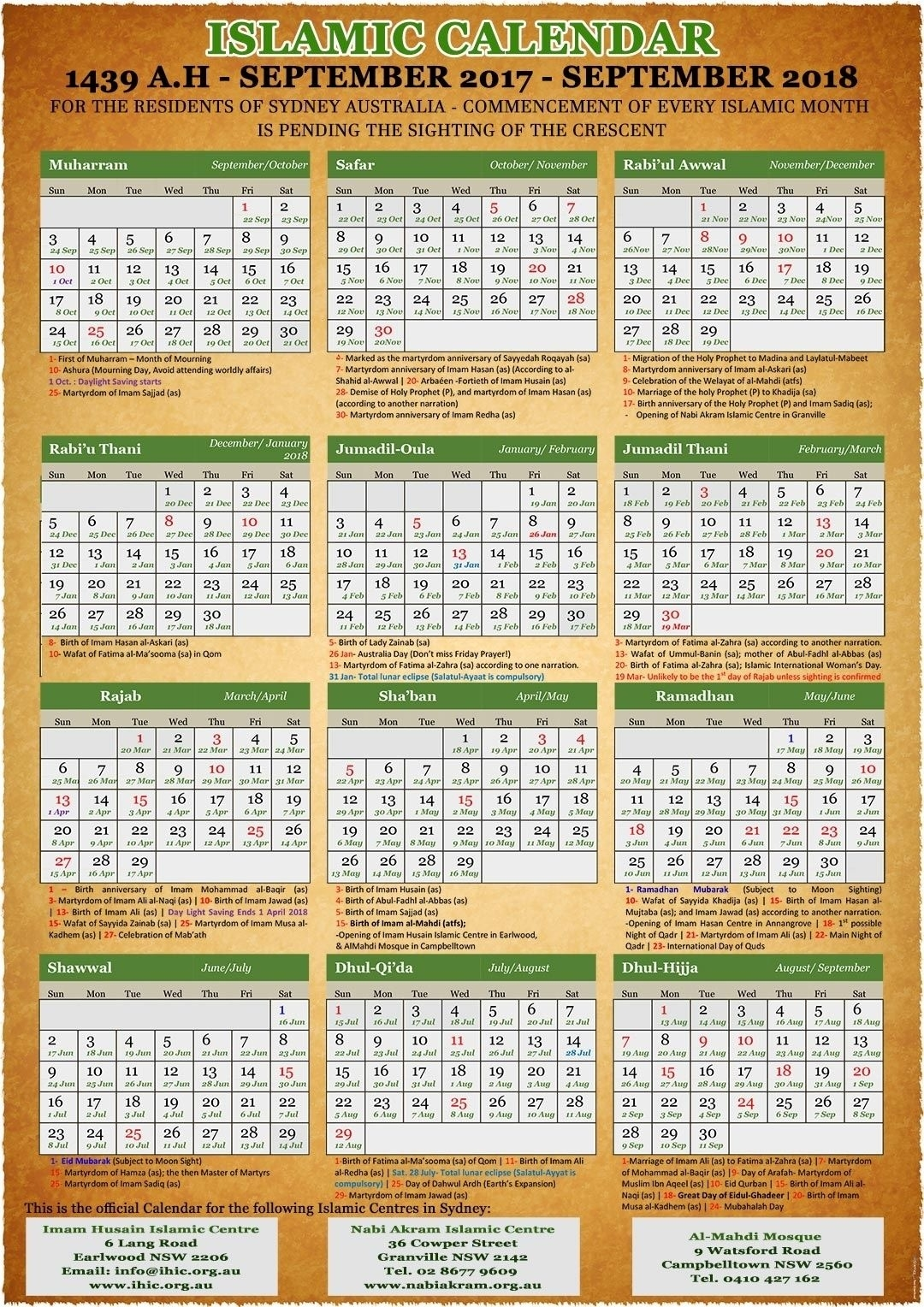 Annual Islamic Calendar 2018 (1439) - Imam Husain Islamic Centre Free | Hijri Calendar, Islamic 25 June 2021 Islamic Calendar