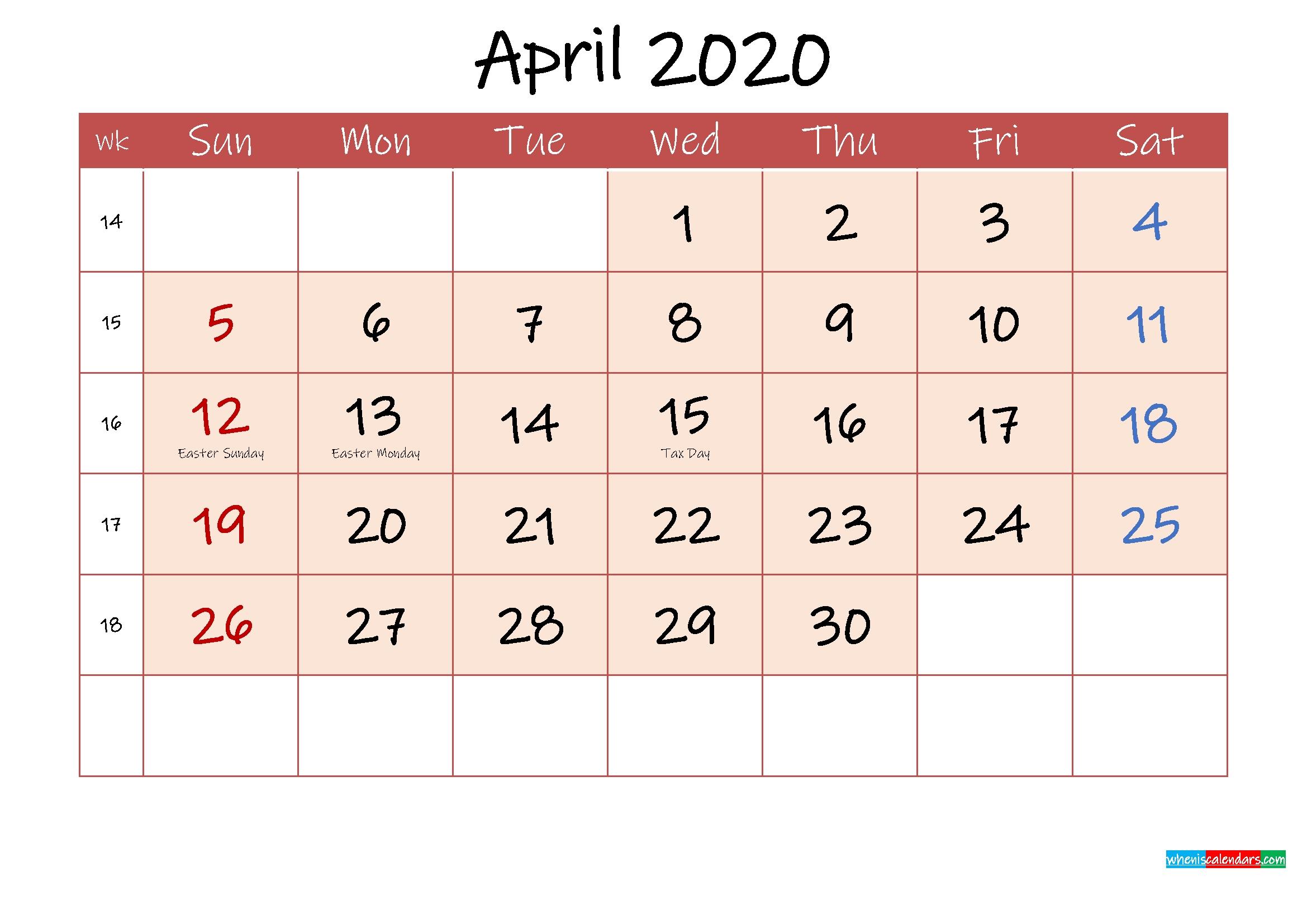 April 2020 Free Printable Calendar With Holidays - Template Ink20M112   Free Printable 2020 Calendar November 2020 To April 2021