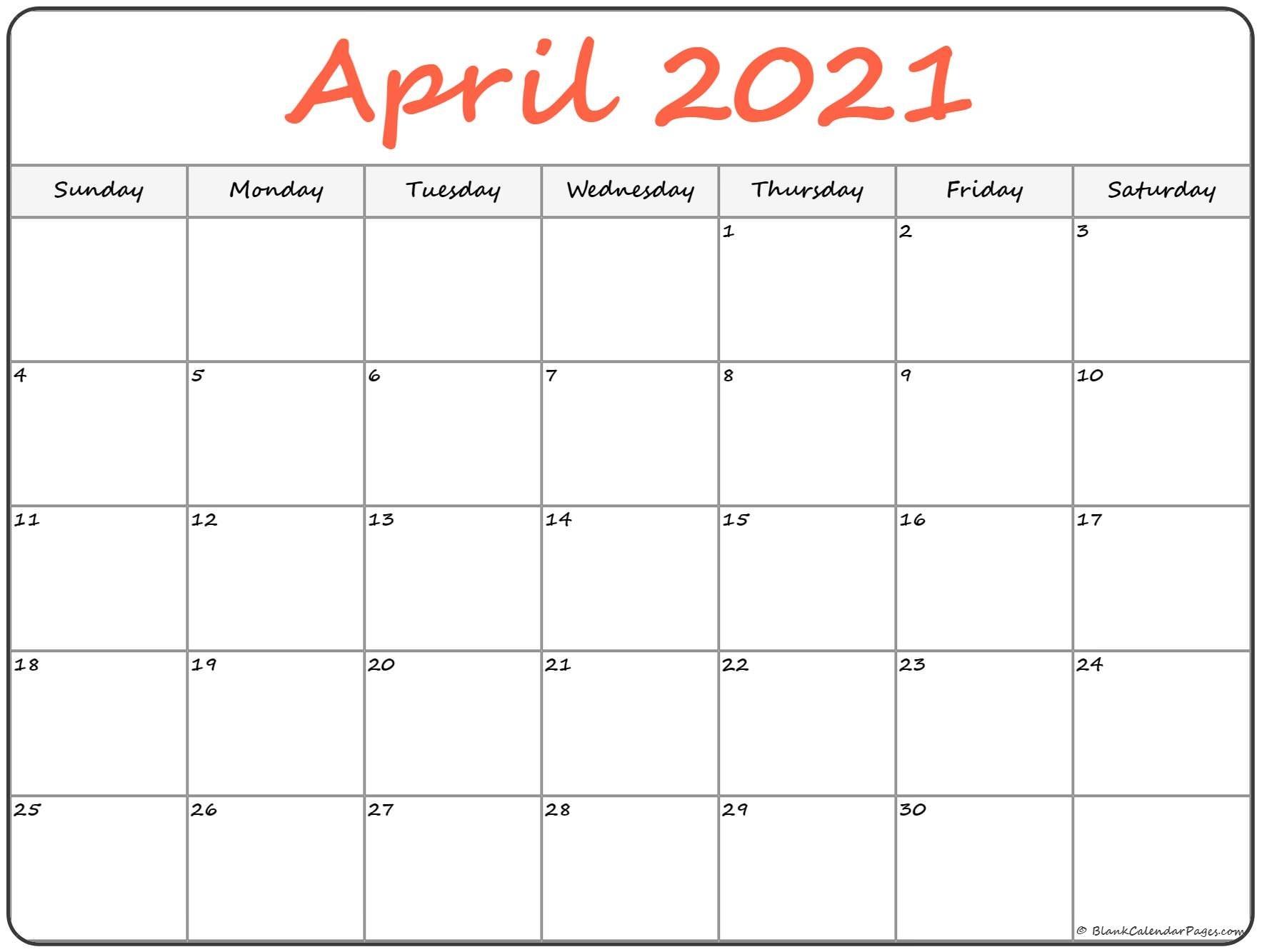 April 2021 Calendar   Free Printable Calendar Print April May June 2021 Calendar