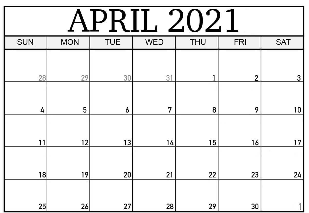 April 2021 Calendar In Pdf Word Excel Printable Template Calendar November 2020 To April 2021