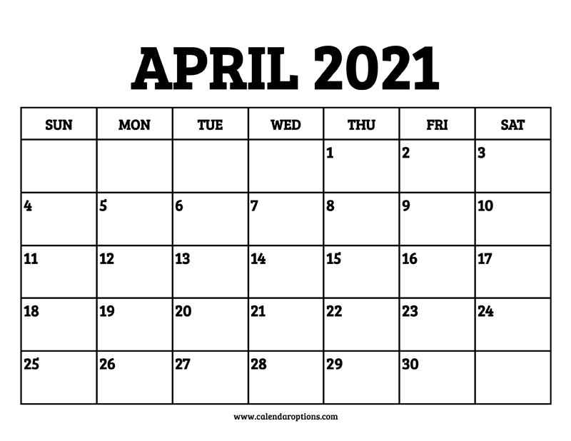 April 2021 Calendar Printable - Calendar Options Blank April May June 2021 Calendar
