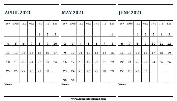 April 2021 Calendar With Notes | Free Printable Calendar Monthly April Through June 2021 Calendar