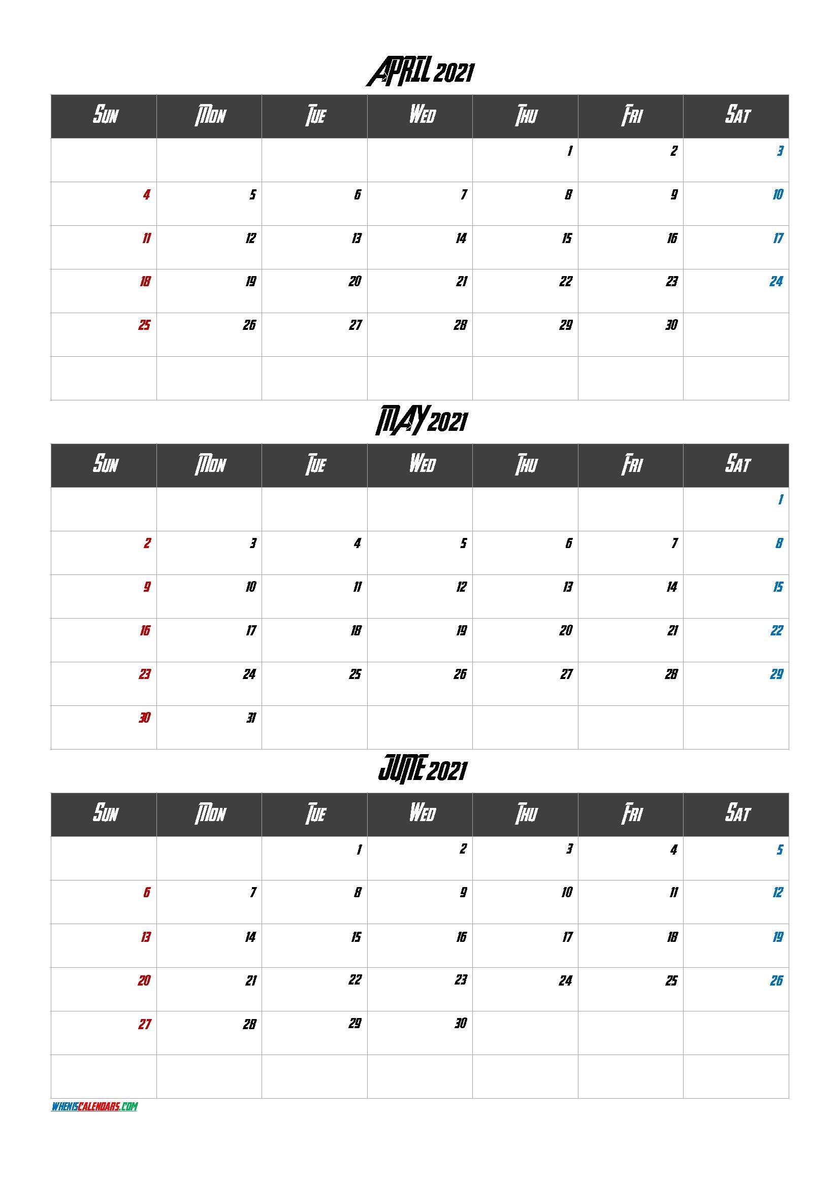 April May June 2021 Calendar Printable-Template Code.aven1 April Through June 2021 Calendar