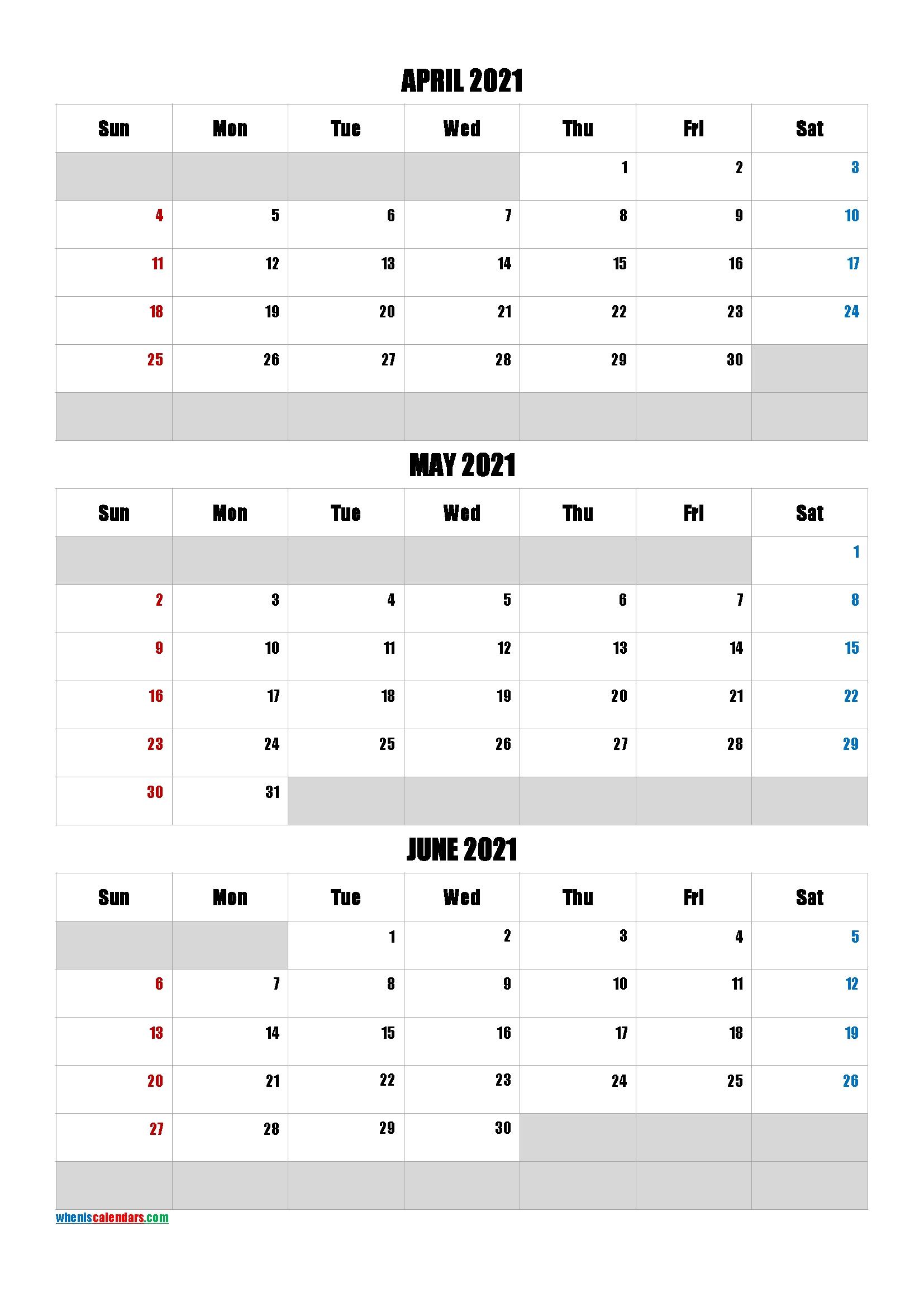 April May June 2021 Calendar-Template Code.impa5 Print April May June 2021 Calendar