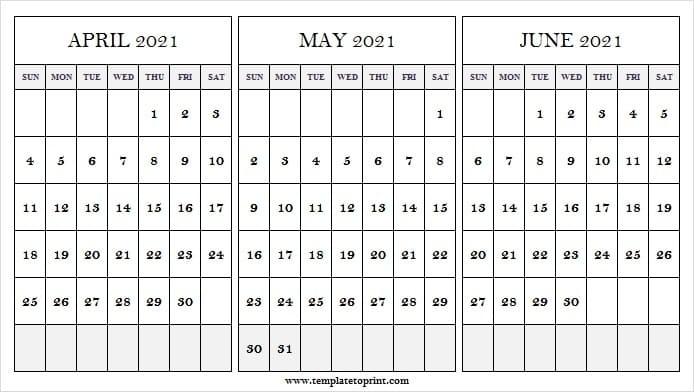 April To 2021 June Calendar   2021 Printable Calendar Print April May June 2021 Calendar
