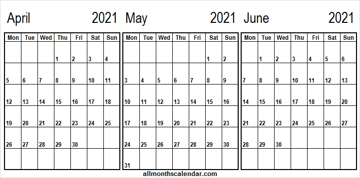 April To June 2021 Calendar - Printable Blank Monthly Template Free Blank April May June 2021 Calendar