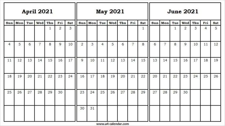 April To June 2021 Calendar Template - 2021 April Calendar Free April Through June 2021 Calendar