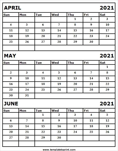April To June 2021 Calendar United States | Free 2021 Calendar Template April Through June 2021 Calendar