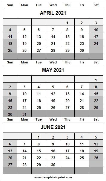 April To June 2021 Calendar Word | 2021 Printable Calendar April Through June 2021 Calendar