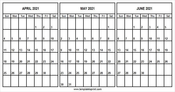 April To June 2021 Printable Calendar | 2021 Printable Calendar Jpg April Through June 2021 Calendar
