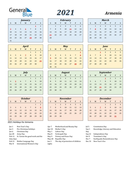 Armenian Calendar 2021 | Printable March General Blue October 2021 Calendar
