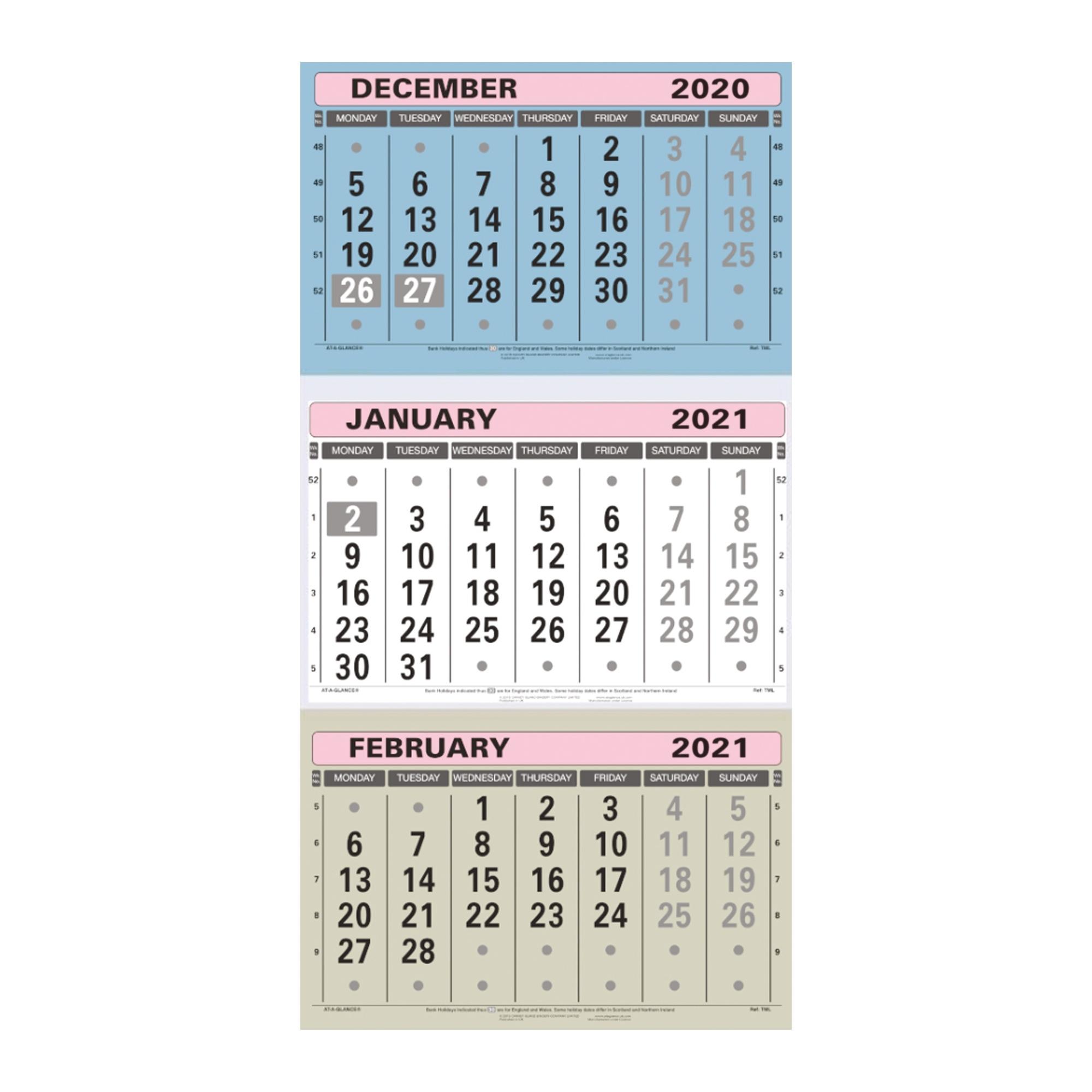 At-A-Glance 2021 Wall Calendar Three Months To View Board Binding 300X595Mm Assorted Ref Tml Key West Calendar November 2021
