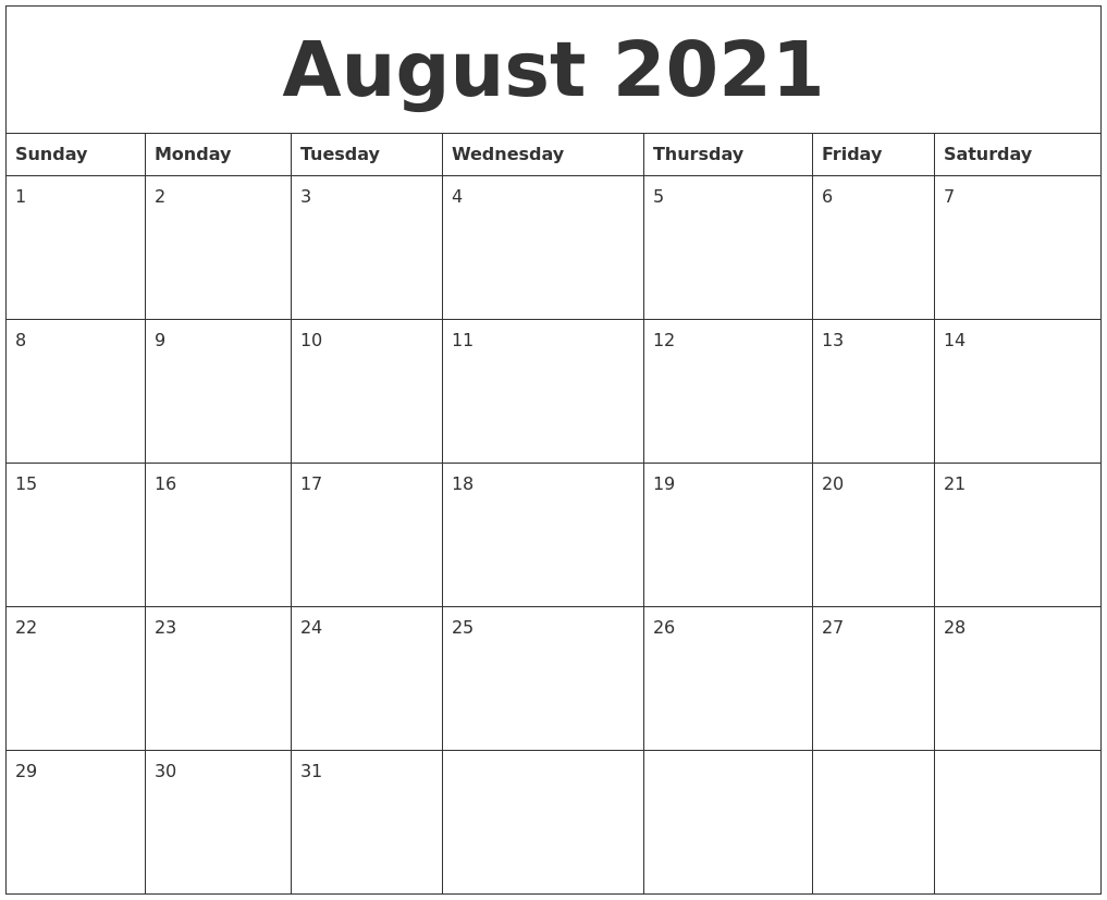August 2021 Blank Calendar Printable August 2021 Blank Calendar Printable