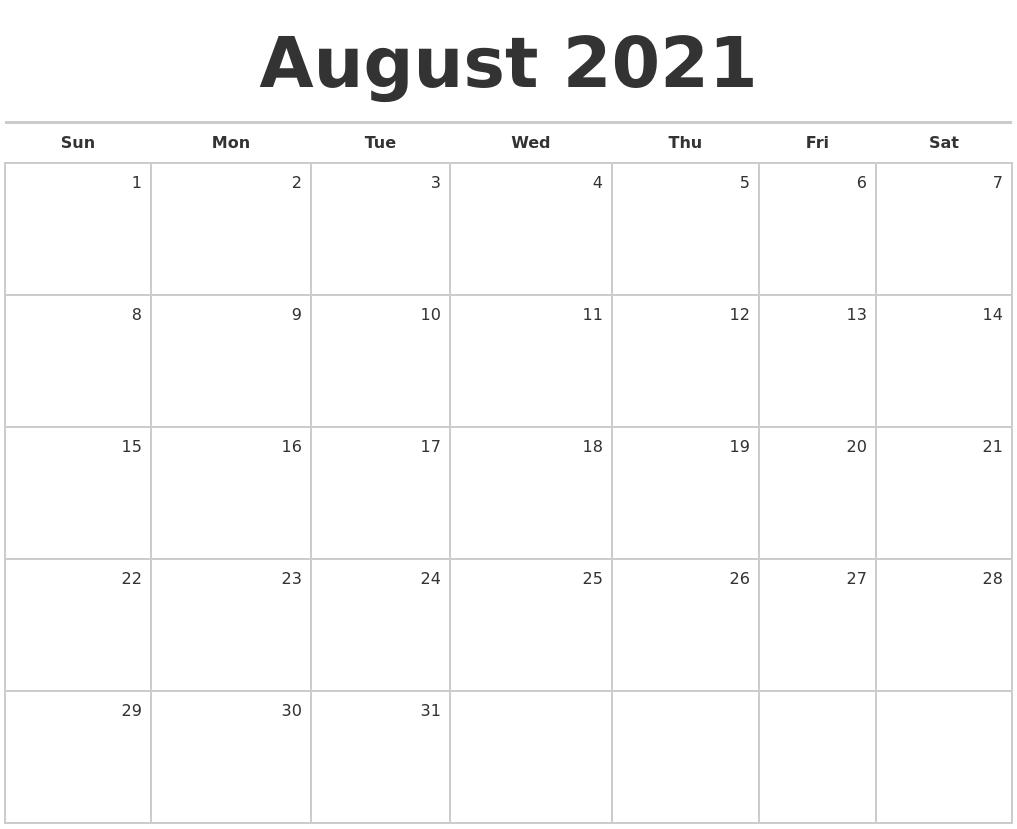 August 2021 Blank Monthly Calendar Blank August 2021 Calendar