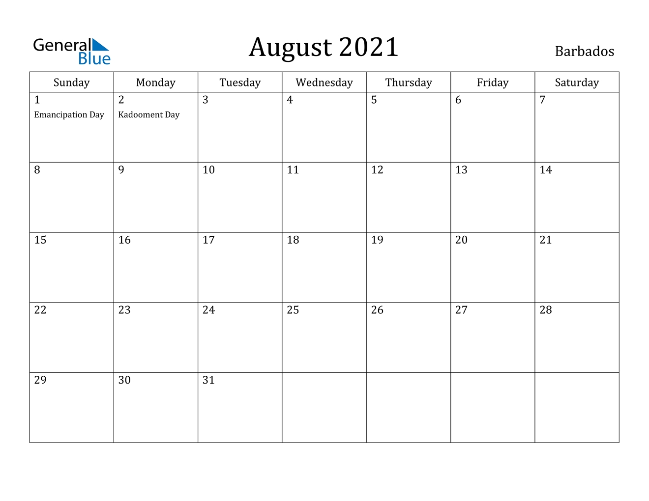 August 2021 Calendar - Barbados August 2021 Calendar With Holidays Usa
