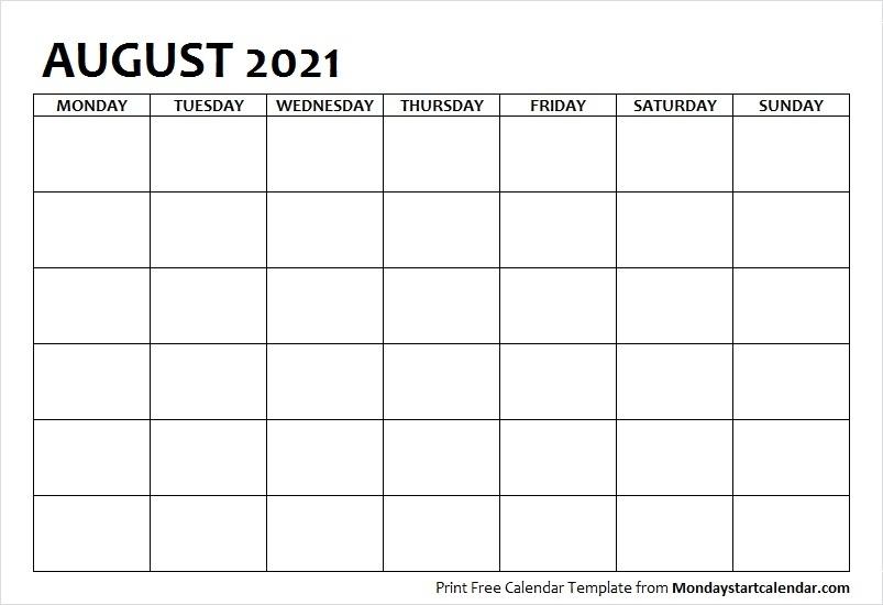 August 2021 Calendar Blank Template To Print   Starting From Monday Blank August 2021 Calendar