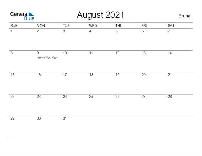 August 2021 Calendar - Brunei National Calendar October 2021