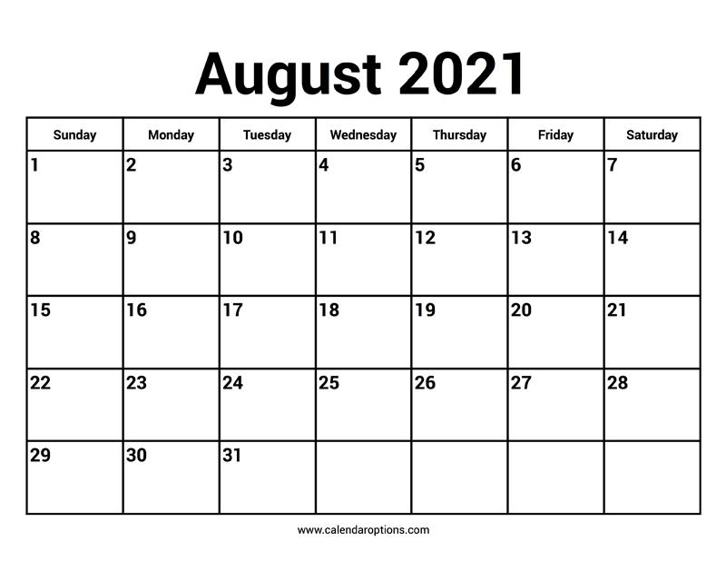 August 2021 Calendar - Calendar Options August 2021 Calendar Reading
