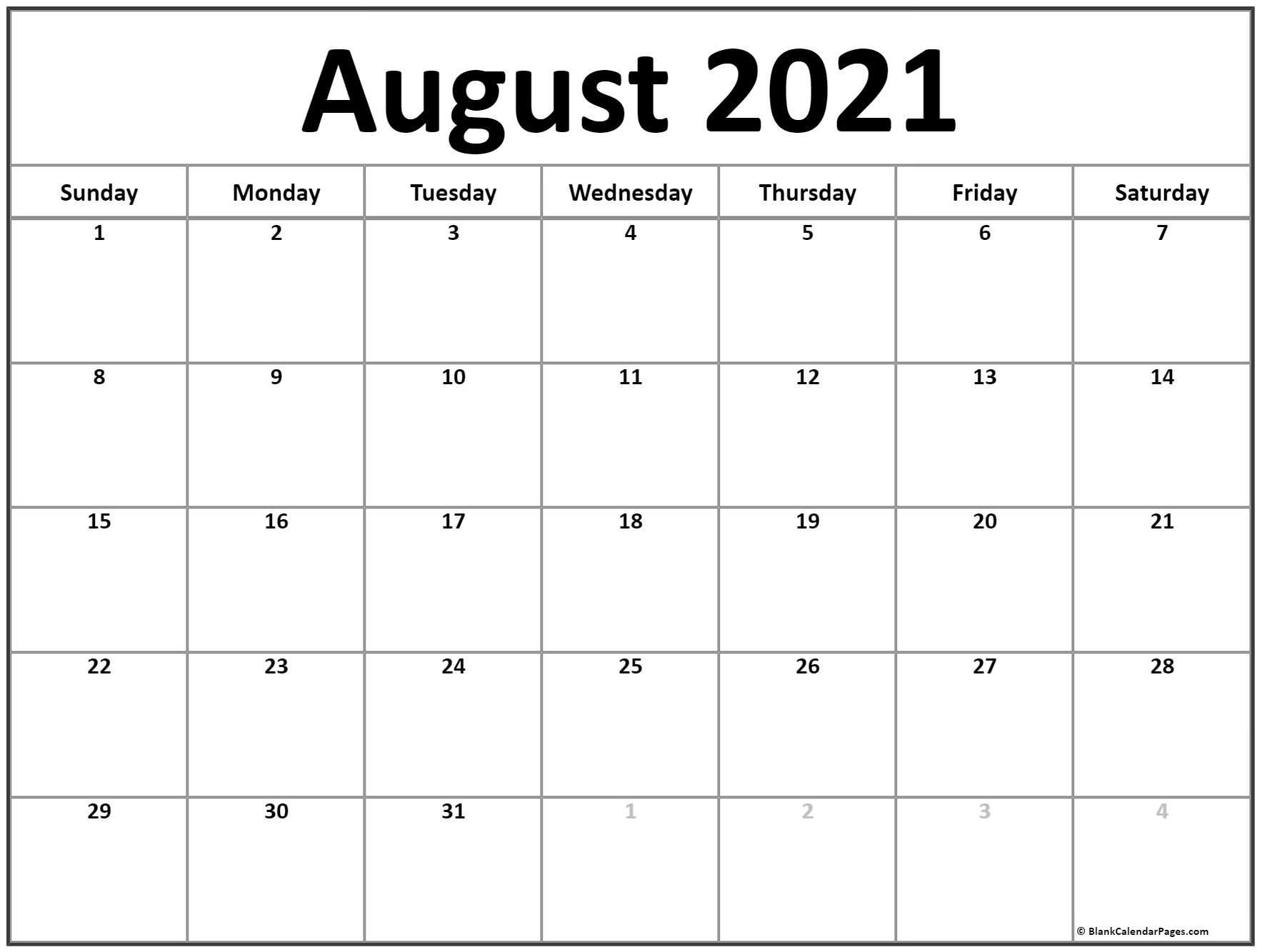 August 2021 Calendar | Free Printable Calendar August 2021 Calendar With Holidays Usa