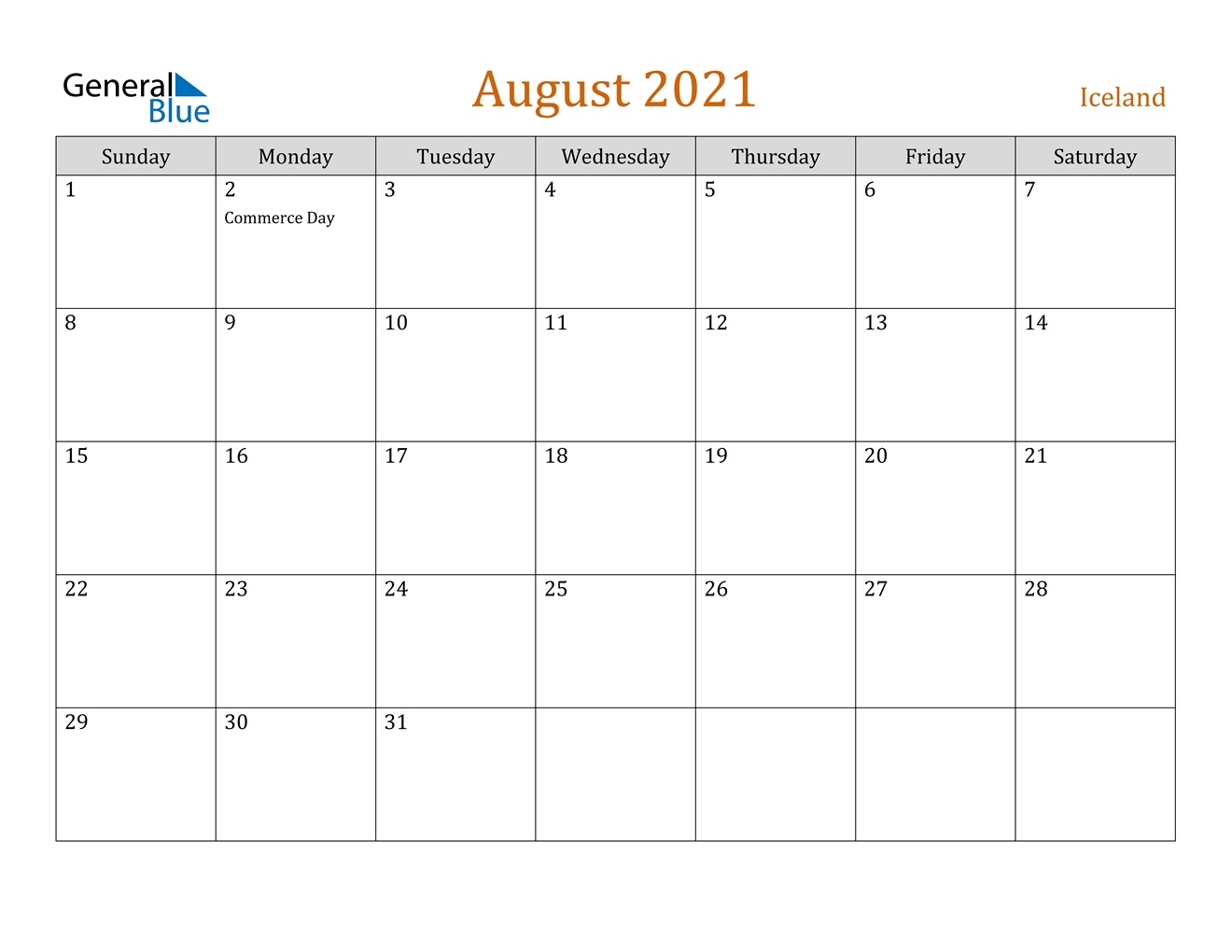 August 2021 Calendar - Iceland August 2021 Calendar Images
