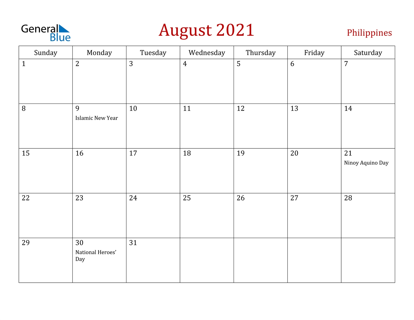 August 2021 Calendar - Philippines August 2021 Calendar Reading