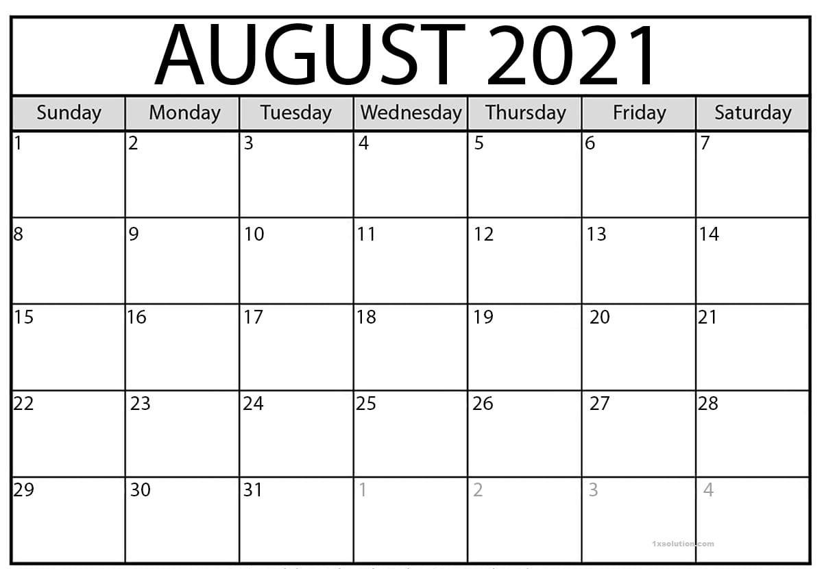 August 2021 Calendar Printable Schedule Excelsheet | Calendar August 2021 Blank Calendar Printable