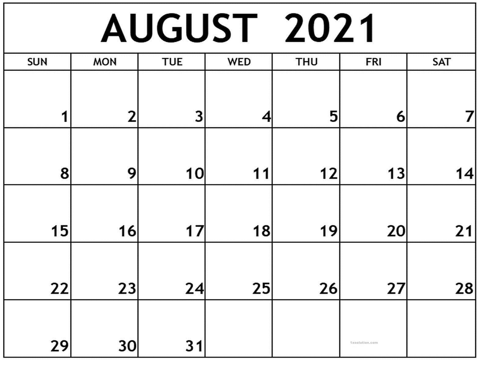 August 2021 Calendar Printable Schedule Excelsheet | Calendar August 2021 Calendar Reading