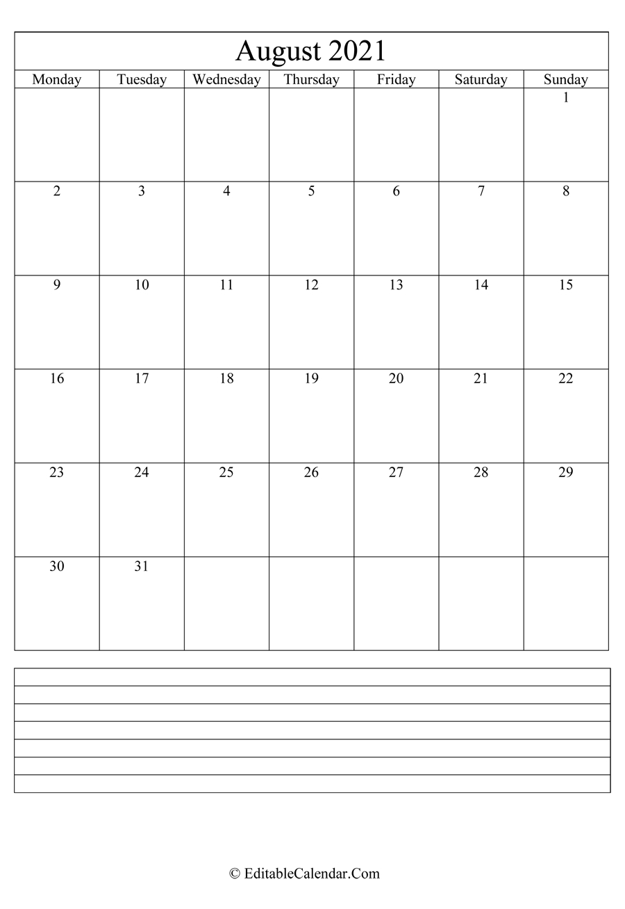 August 2021 Calendar Templates August 2021 Calendar With Holidays Usa