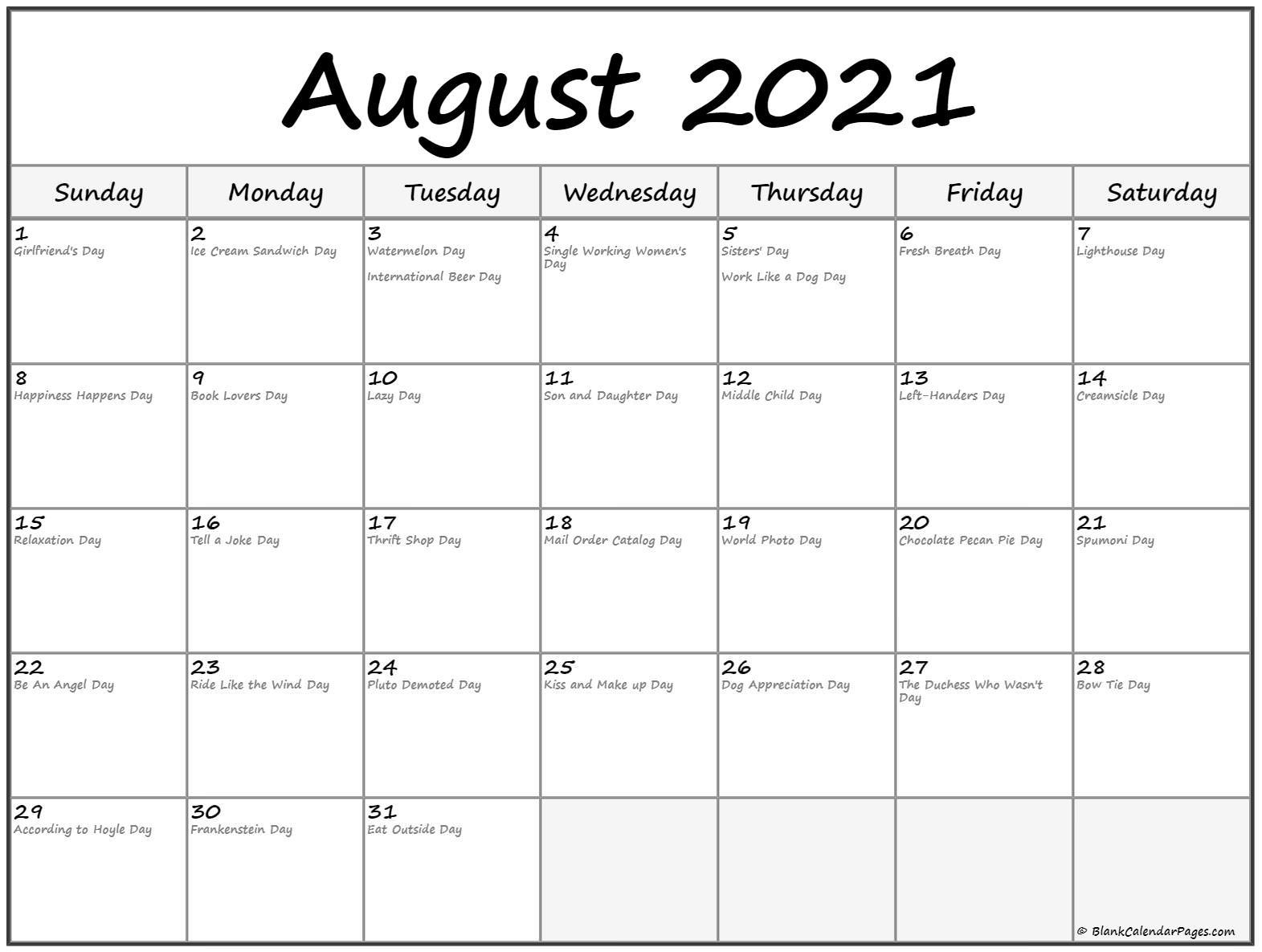 August 2021 Calendar With Holidays August 2021 Calendar Images