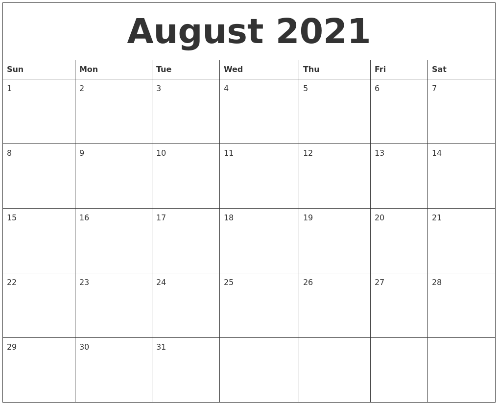August 2021 Create Calendar August 2021 Calendar Images