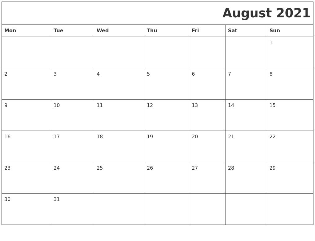 August 2021 Download Calendar August 2021 Calendar Reading