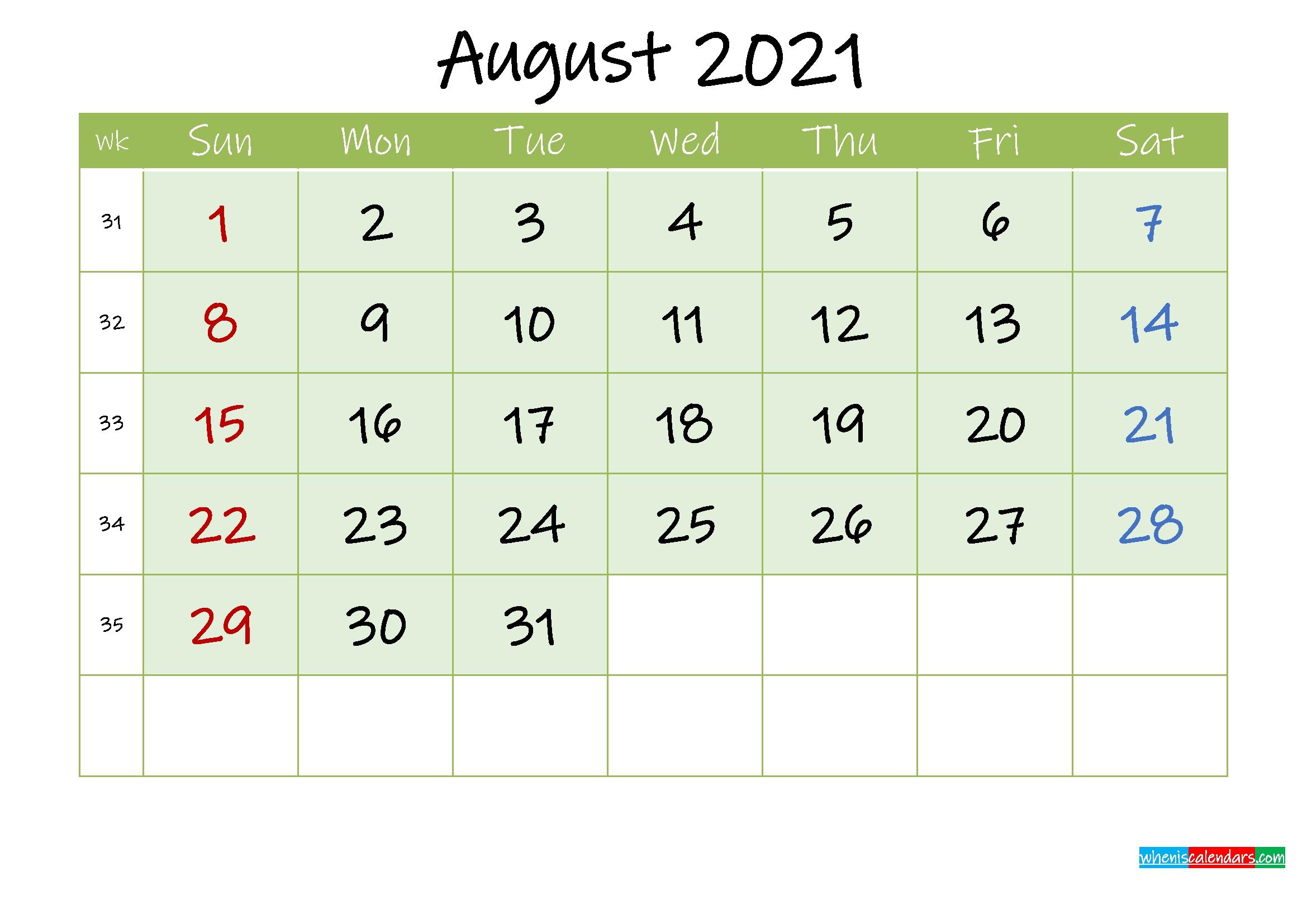 August 2021 Free Printable Calendar - Template Ink21M128 | Free Printable 2020 Calendar With August 2021 Blank Calendar Printable