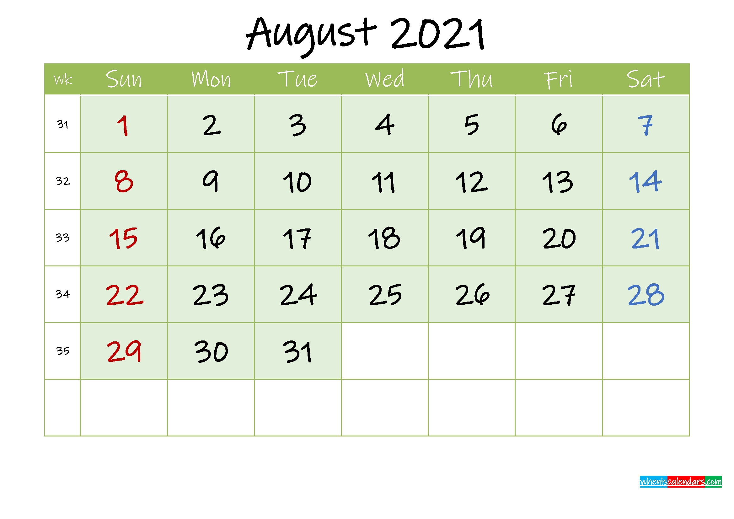 August 2021 Free Printable Calendar - Template Ink21M128   Free Printable 2020 Calendar With August 2021 Jewish Calendar