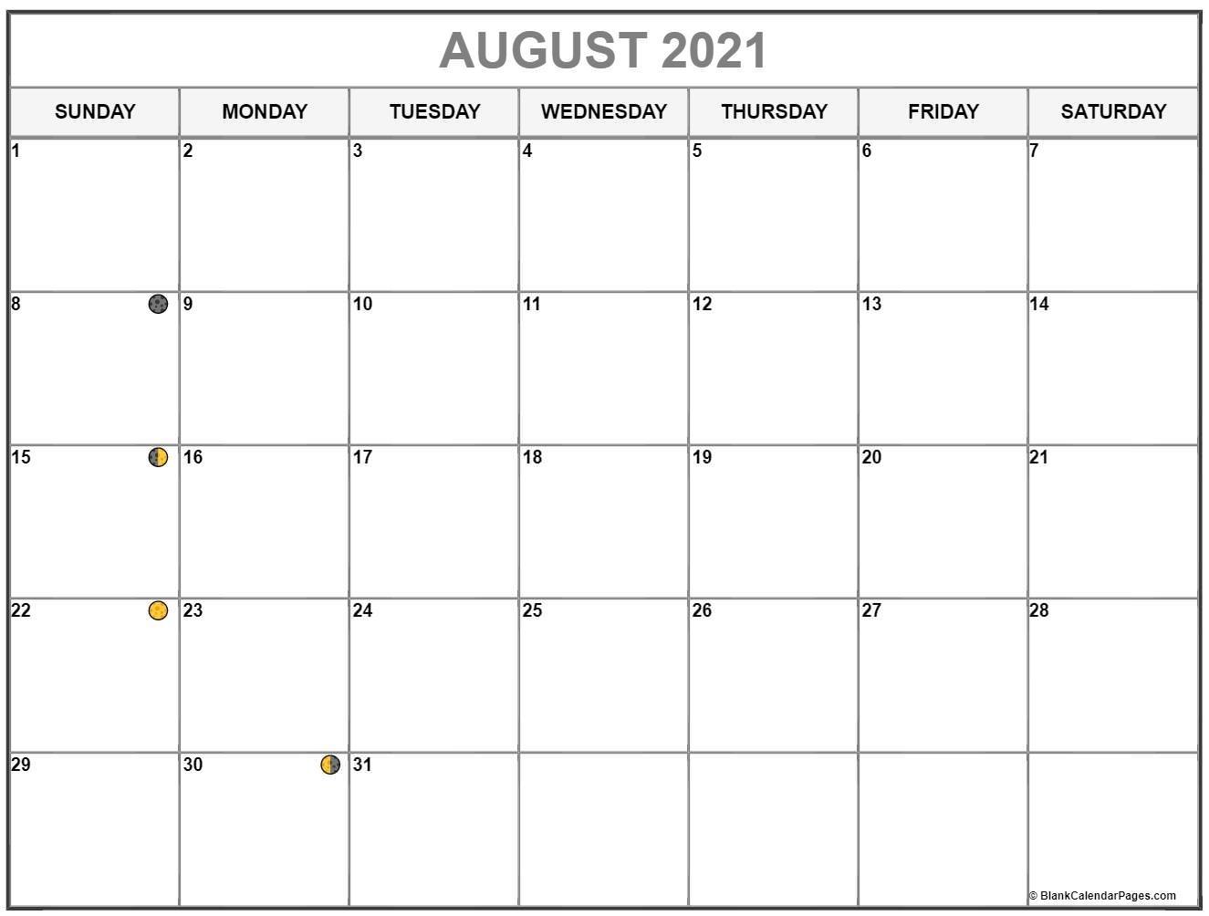 August 2021 Lunar Calendar   Moon Phase Calendar Blank August 2021 Calendar