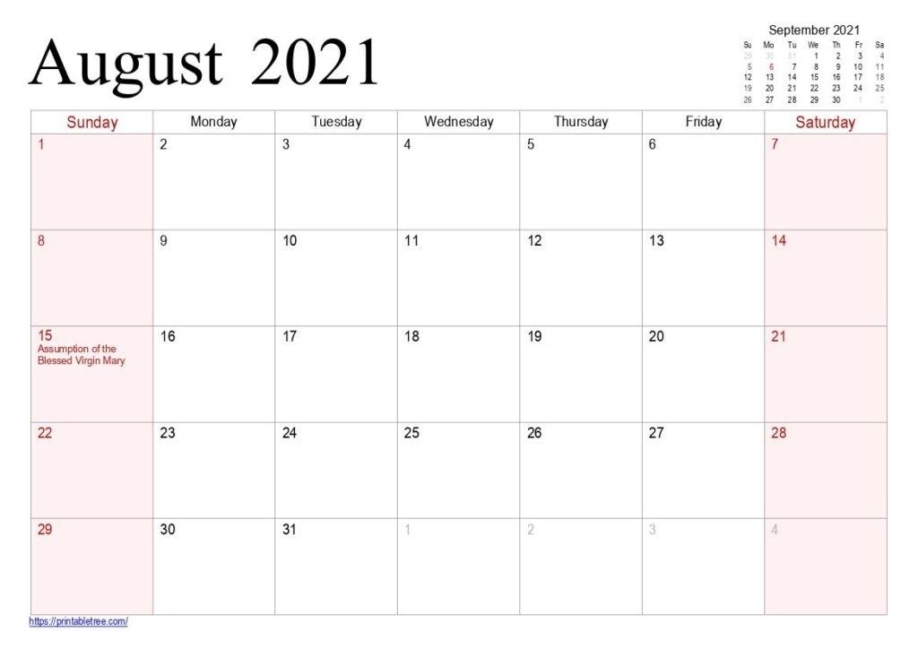 August 2021 Printable Calendar Pdf Templates Free Download August 2021 Calendar Images