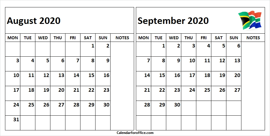 August September 2020 Calendar South Africa | Free Calendar Template, South Africa Flag, 2021 October 2021 Calendar With Holidays Philippines