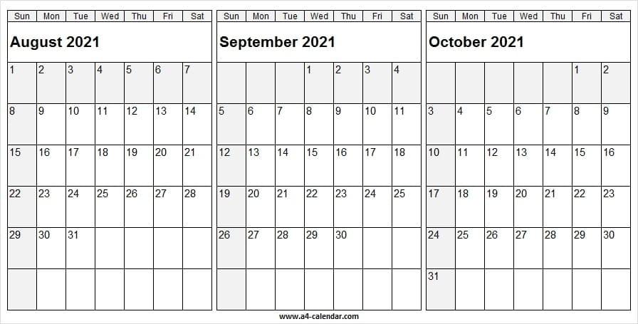 August September October 2021 Calendar - A4 Calendar September And October 2021 Calendar