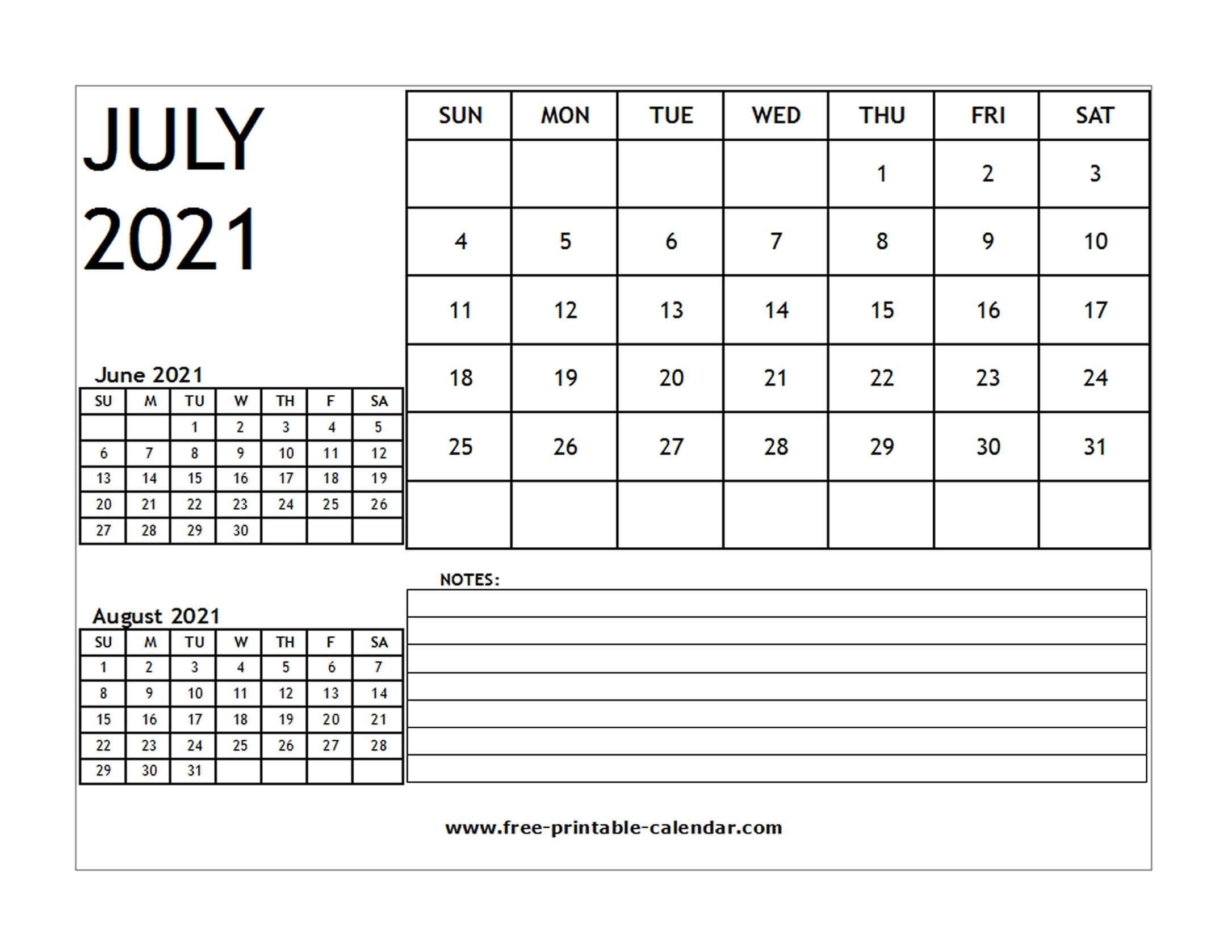 Blank 2021 Calendar July - Free-Printable-Calendar Blank July 2021 Calendar Printable