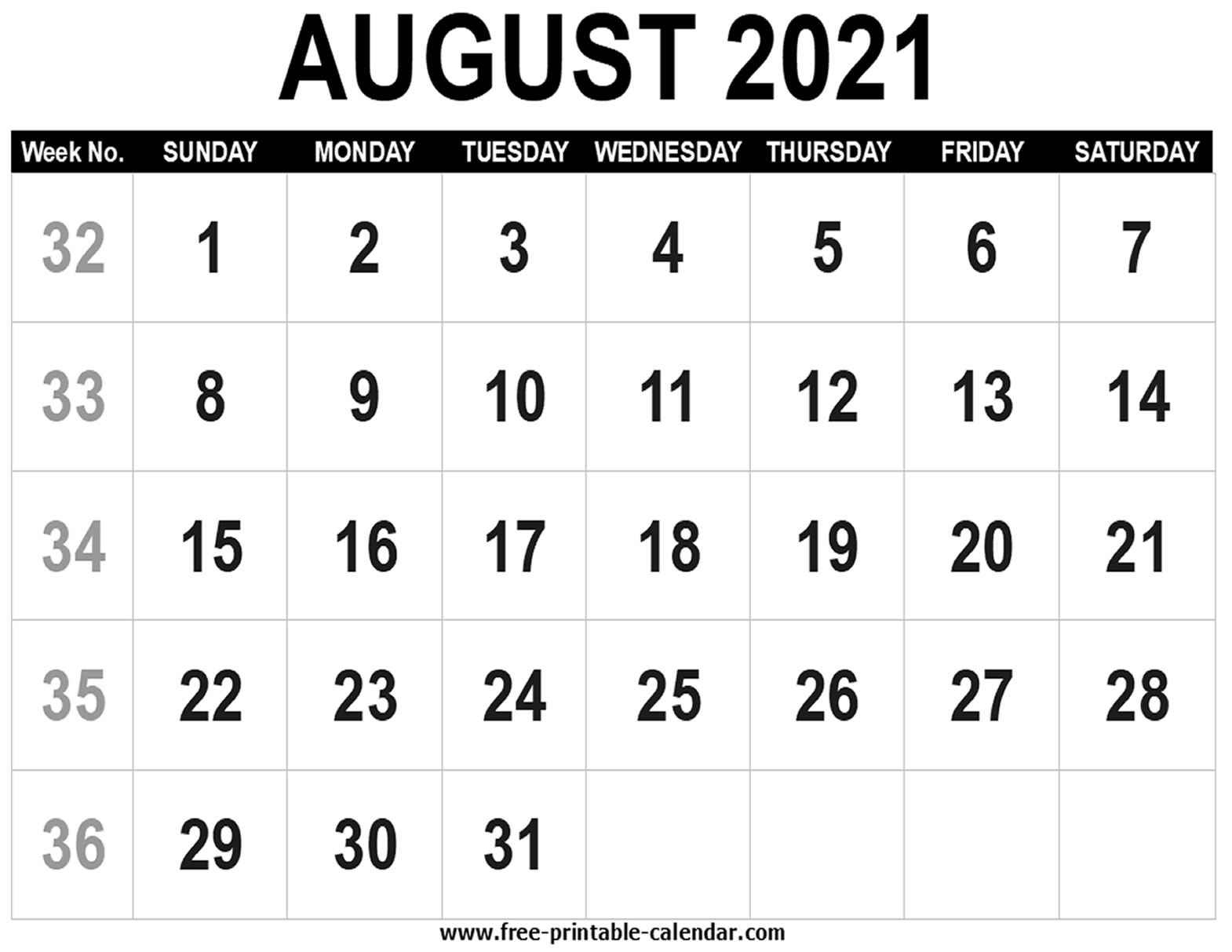Blank Calendar 2021 August - Free-Printable-Calendar August 2021 Blank Calendar Printable