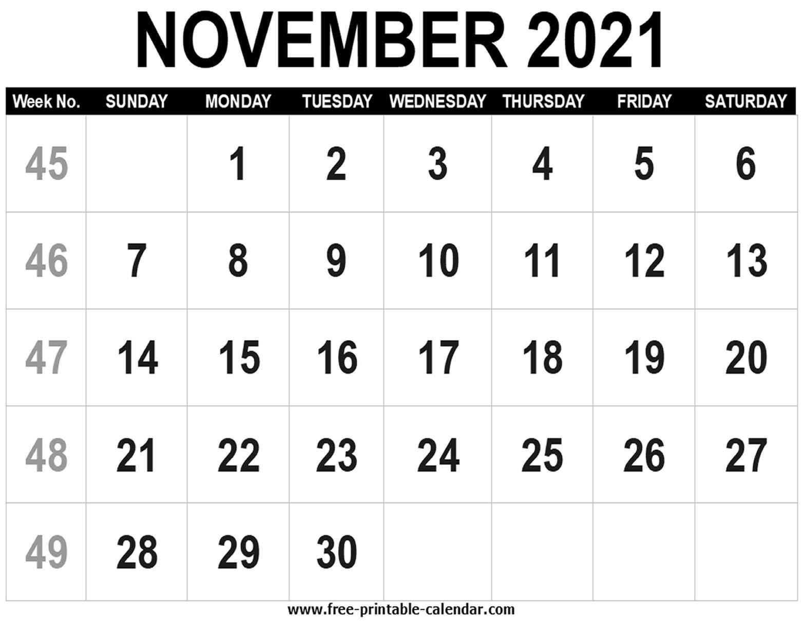 Blank Calendar 2021 November - Free-Printable-Calendar Free Printable November 2021 Calendar With Holidays